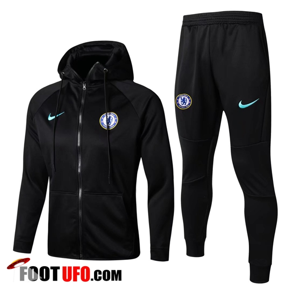 Sweat a Capuche Survetement Foot FC Chelsea Noir 2017/2018 Ensemble