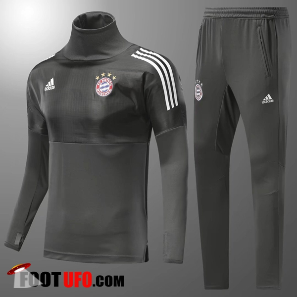 Champions Ensemble Survetement Foot Bayern Munich Enfant Armee Verte Col Haut 2017/2018