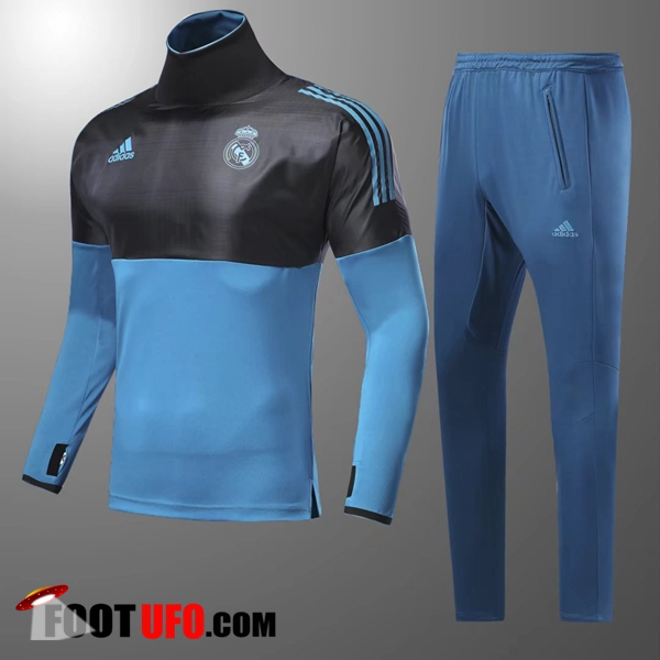Champions Ensemble Survetement Foot Real Madrid Enfant Noir/Bleu Col Haut 2017/2018