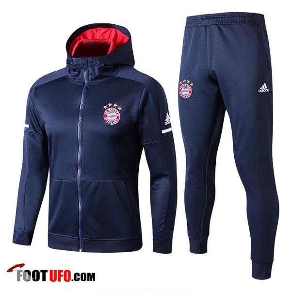 Sweat a Capuche Survetement Foot Bayern Munich Bleu Marine 2017/2018 Ensemble