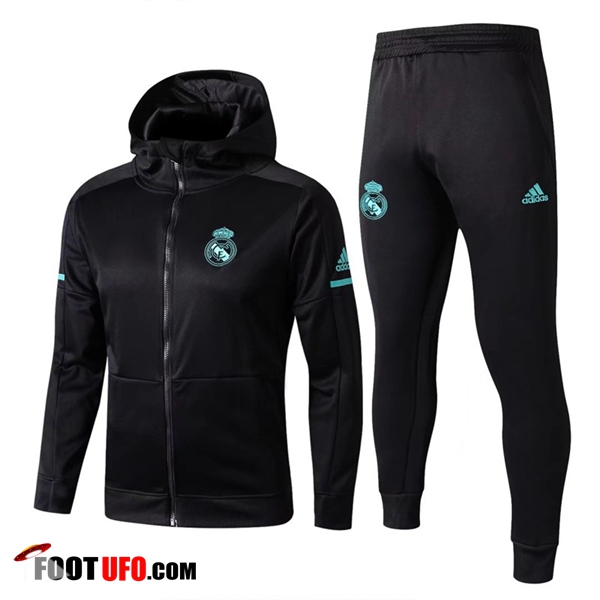 Sweat a Capuche Survetement Foot Real Madrid Noir 2017/2018 Ensemble