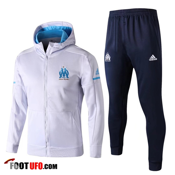 Sweat a Capuche Survetement Foot Marseille OM Blanc 2017/2018 Ensemble