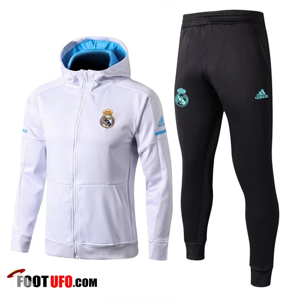 Sweat a Capuche Survetement Foot Real Madrid Blanc 2017/2018 Ensemble