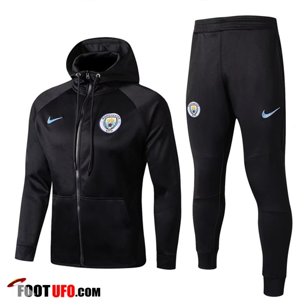 Sweat a Capuche Survetement Foot Manchester City Noir 2017/2018 Ensemble