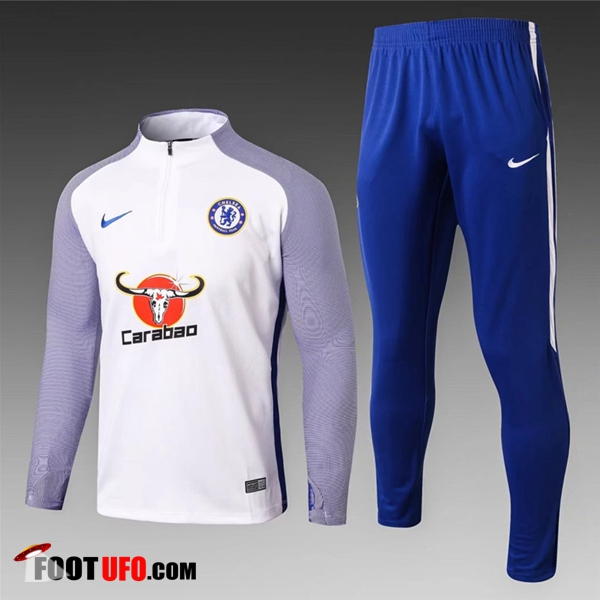 Ensemble Survetement de Foot FC Chelsea Enfant Blanc 2017/2018 Strike Drill