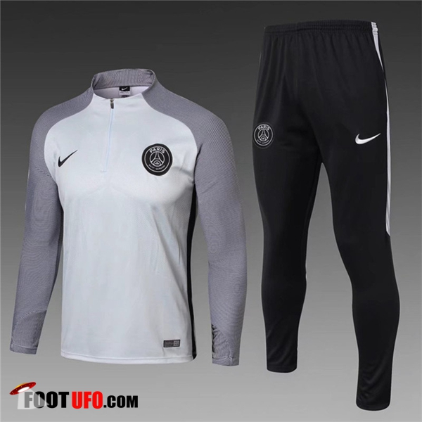 Ensemble Survetement de Foot PSG Enfant Blanc/Gris 2017/2018 Strike Drill