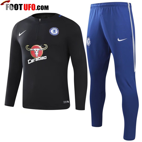 Survetement de Foot FC Chelsea Noir 2017/2018 Ensemble