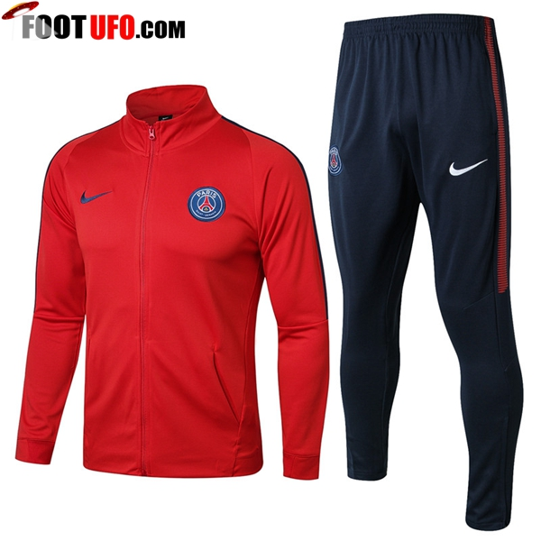 Survetement de Foot - Veste PSG Rouge Ensemble 2017/2018 -01