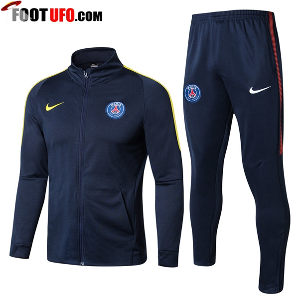 Survetement de Foot - Veste PSG Bleu Marine/Jaune Ensemble 2017/2018