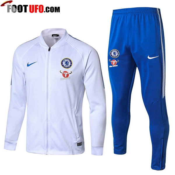 Survetement de Foot - Veste FC Chelsea Blanc Ensemble 2017/2018