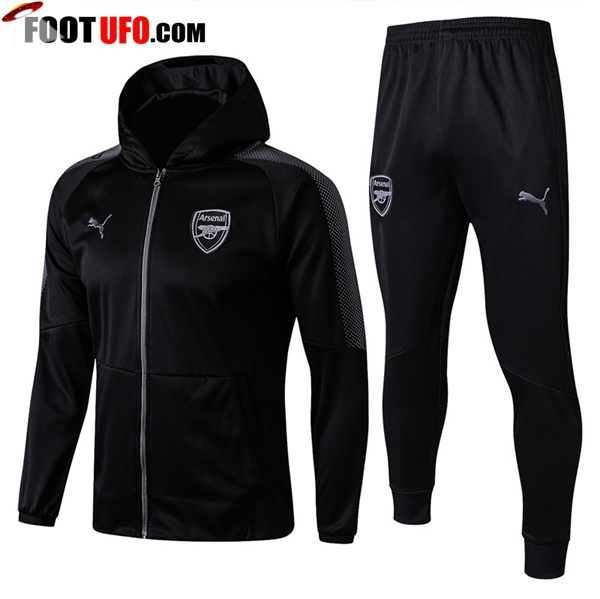 Sweat a Capuche Survetement Foot Arsenal Noir 2017/2018 Ensemble