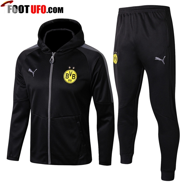 Sweat a Capuche Survetement Foot Dortmund BVB Noir 2017/2018 Ensemble