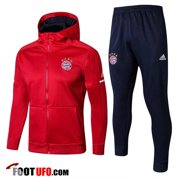 Sweat a Capuche Survetement Foot Bayern Munich Rouge 2017/2018 Ensemble