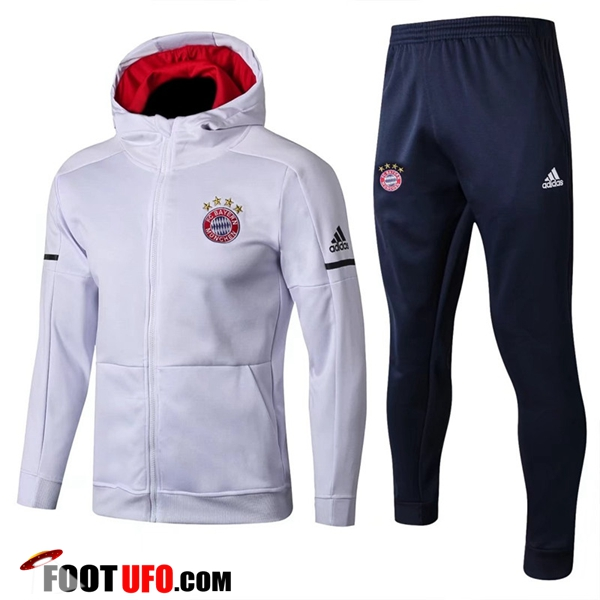 Sweat a Capuche Survetement Foot Bayern Munich Blanc 2017/2018 Ensemble