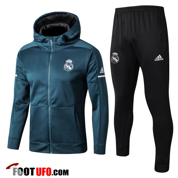 Sweat a Capuche Survetement Foot Real Madrid Vert Fonce 2017/2018 Ensemble