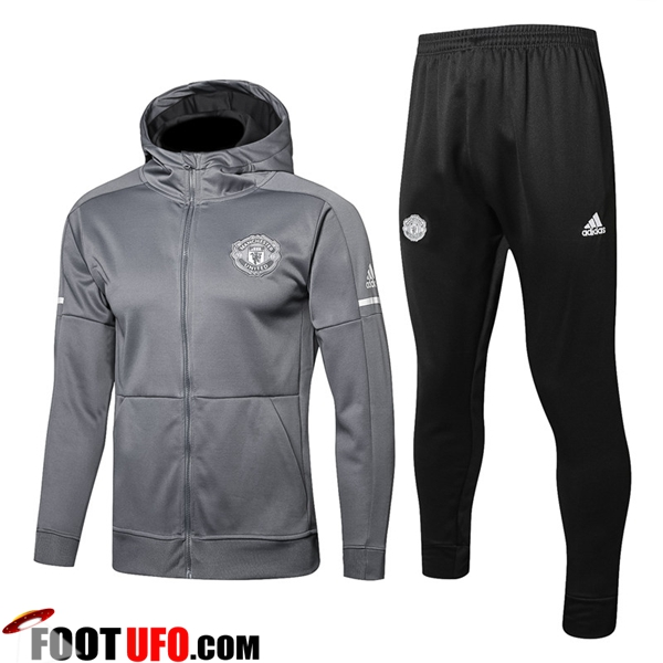 Sweat a Capuche Survetement Foot Manchester United Gris 2017/2018 Ensemble