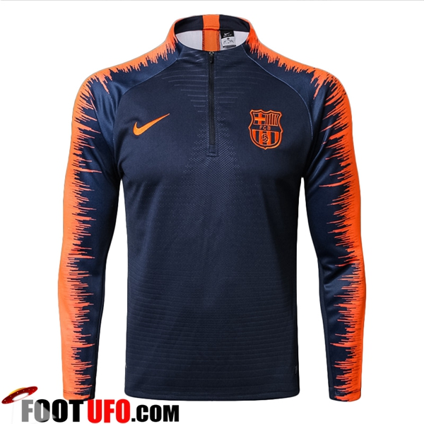 Sweatshirt Training FC Barcelone Strike Drill Bleu Marine/Orange 2017/2018