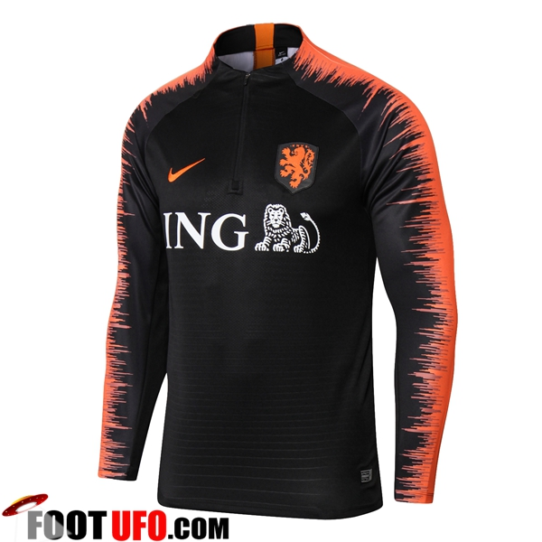 Sweatshirt Training Pays-Bas Noir/Orange 2018/2019