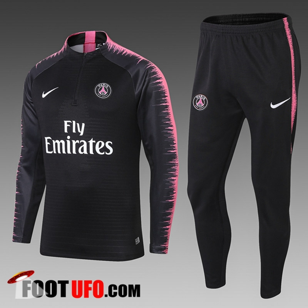 Ensemble Survetement de Foot PSG Enfant Noir/Rose Strike Drill 2018/2019