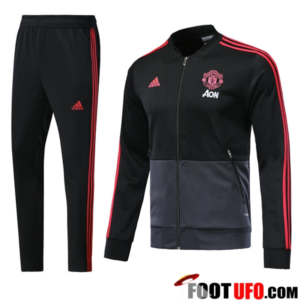 Ensemble Survetement de Foot - Veste Manchester United Noir/Gris 2018/2019