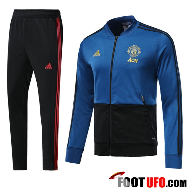 Ensemble Survetement de Foot - Veste Manchester United Bleu/Noir 2018/2019