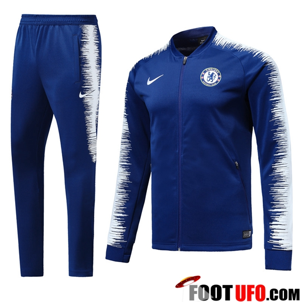 Ensemble Survetement de Foot - Veste FC Chelsea Bleu/Blanc 2018/2019