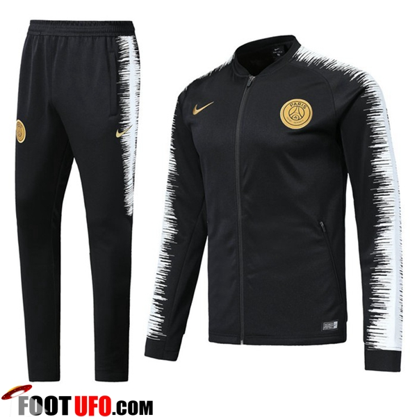Ensemble Survetement de Foot - Veste PSG Noir/Blanc 2018/2019