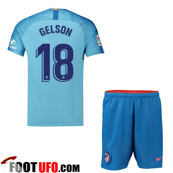 Ensemble Maillot Foot Atletico Madrid Enfant 2018 2019 Exterieur 18 DIEGO COSTA Bleu avec Short | Flocage Officiel