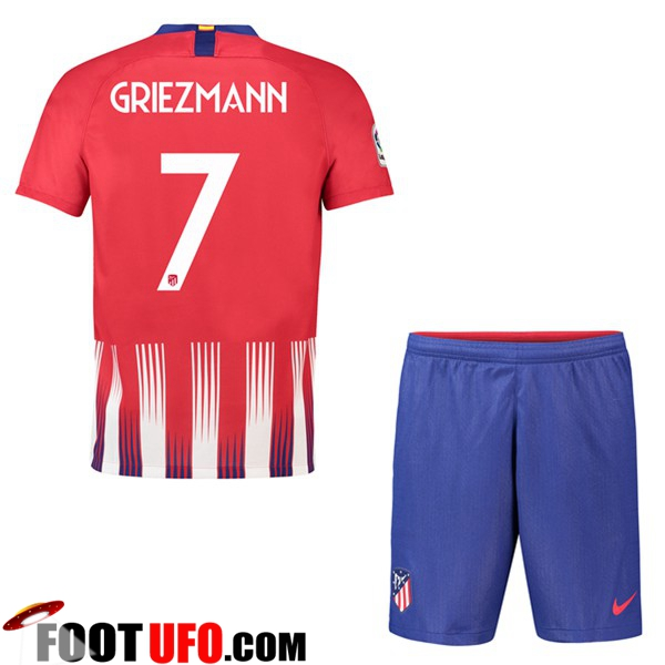 Ensemble Maillot Foot Atletico Madrid Enfant 2018 2019 Domicile 7 GRIEZMANN Rouge/Blanc avec Short | Flocage Officiel