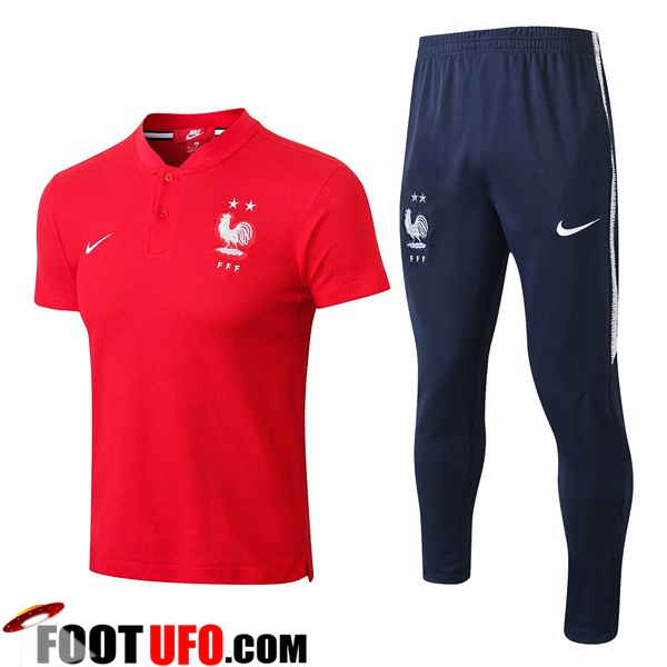 Ensemble Polo France 2 Etoiles + Pantalon Rouge 2018/2019