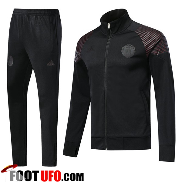 Ensemble Survetement de Foot - Veste Manchester United Noir 2018/2019