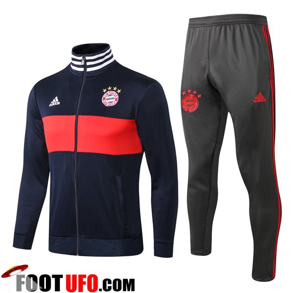 Ensemble Survetement de Foot - Veste Bayern Munich Bleu/Rouge 2018/2019