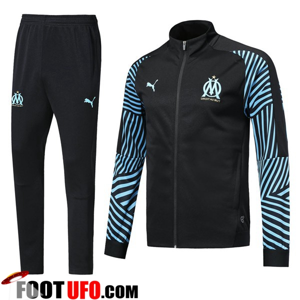 Ensemble Survetement de Foot - Veste Marseille Noir/Bleu 2018/2019