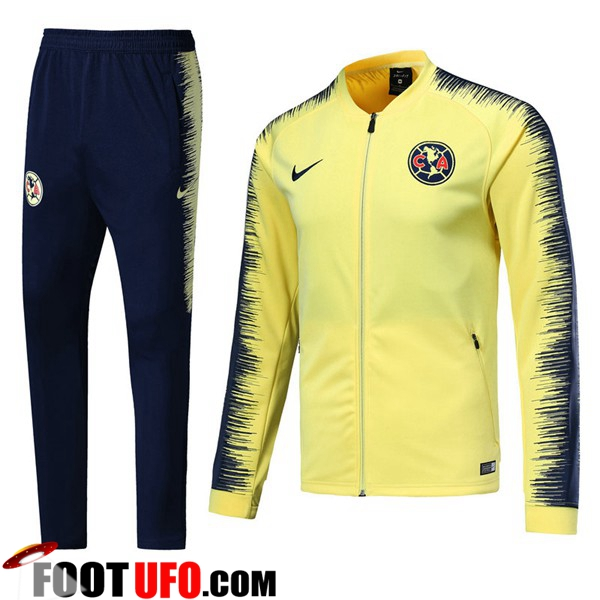 Ensemble Survetement de Foot - Veste Club America Jaune 2018/2019
