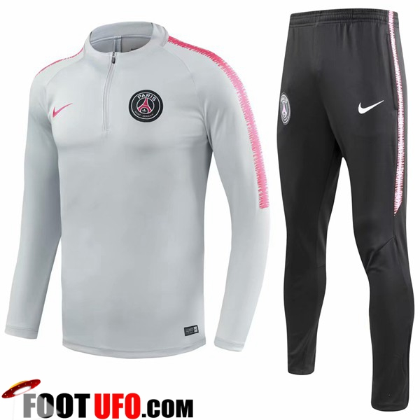 Ensemble Survetement de Foot PSG Gris/Blanc 2018/2019