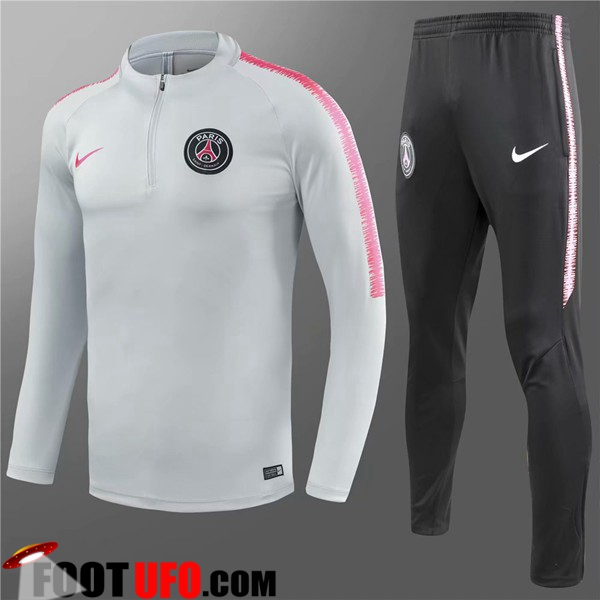Ensemble Survetement de Foot PSG Enfant Gris/Blanc 2018/2019
