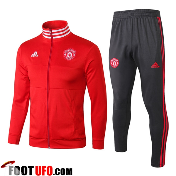 Ensemble Survetement de Foot - Veste Manchester United Rouge Col haut 2018/2019