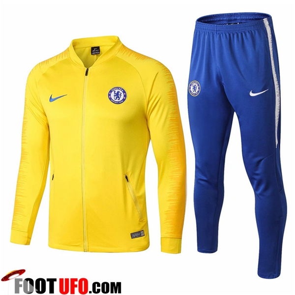 Ensemble Survetement de Foot - Veste FC Chelsea Jaune 2018/2019
