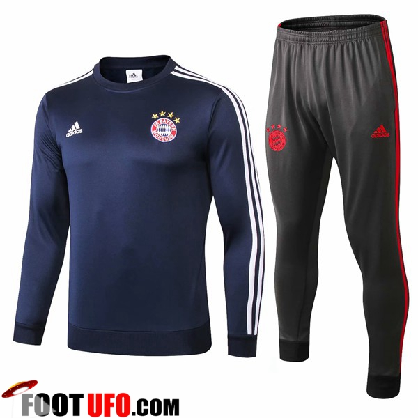 Ensemble Survetement de Foot Bayern Munich Bleu Fonce 2018/2019