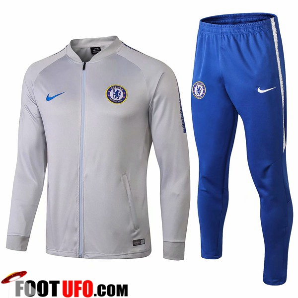 Ensemble Survetement de Foot - Veste FC Chelsea Gris 2018/2019