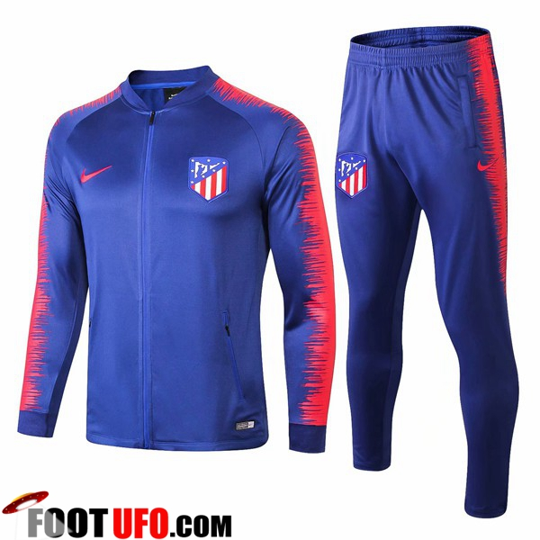 Ensemble Survetement de Foot - Veste Atletico Madrid Bleu Rouge 2018 2019 599ddc39042