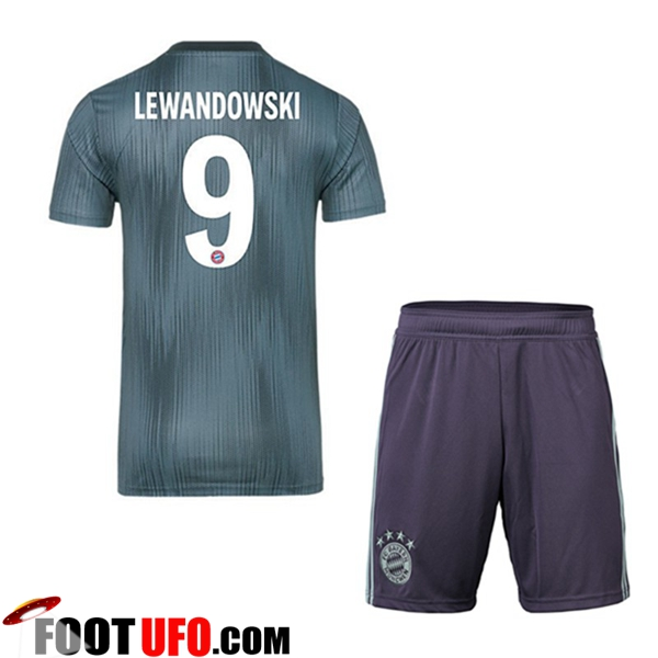 Maillot Foot Bayern Munich 2018/2019 Enfants 9 LEWANDOWSKI Third Vert avec Short | Flocage Officiel en Thailande
