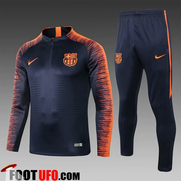 Ensemble Survetement de Foot FC Barcelone Enfant Noir/Orange 2018/2019