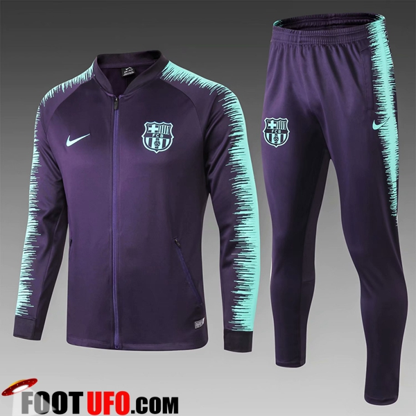 Ensemble Survetement de Foot - Veste FC Barcelone Enfant Noir/Bleu Strike Drill 2018/2019