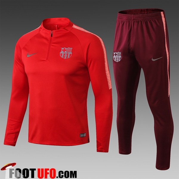 Ensemble Survetement de Foot FC Barcelone Enfant Rouge 2018/2019