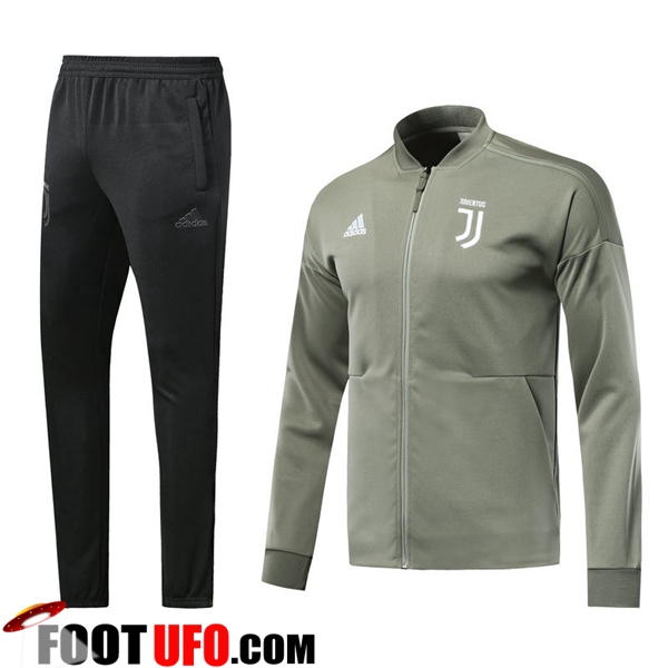 Ensemble Survetement de Foot - Veste Juventus Gris Fonce 2018/2019