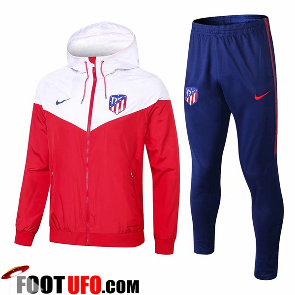 Ensemble Veste Coupe Vent Atletico Madrid Blanc/Rouge 2018/2019
