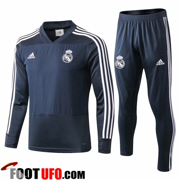 Ensemble Survetement de Foot Real Madrid Bleu Fonce 2018/2019