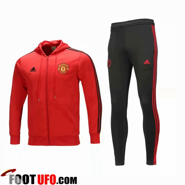 Ensemble Sweat A Capuche Survetement Manchester United Rouge 2018/2019