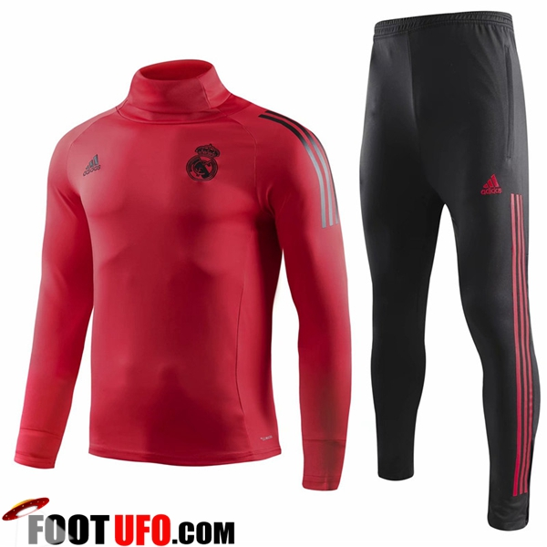 Ensemble Survetement de Foot Real Madrid Rouge Col haut 2018/2019
